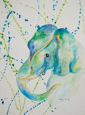 Painting - Blue Elephant by Tamyra Crossley
