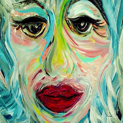 Lips Painting - Blue by Eloise Schneider