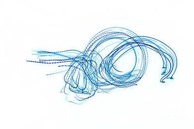 Blue Escargot Abstract Art Print by George Zhouf