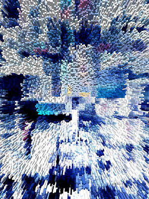 Digital Art - Blue Extrusion - Abstract -art by Ann Powell