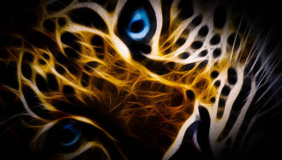 Cougar Digital Art - Blue Eye by Aged Pixel