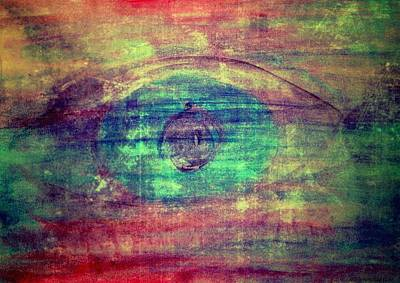 Colored Pencil Abstract Mixed Media - Blue Eye 1 by Dimitra Papageorgiou