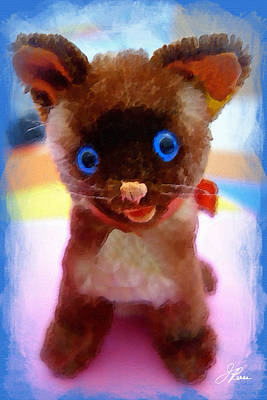 Painting - Blue Eyed Kitty by Joan Reese