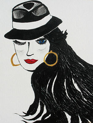 Gold Earrings Painting - Blue Eyed Wink by Phoenix The Moody Artist