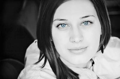 Colourized Photograph - Blue Eyed Woman by Nathan Lau