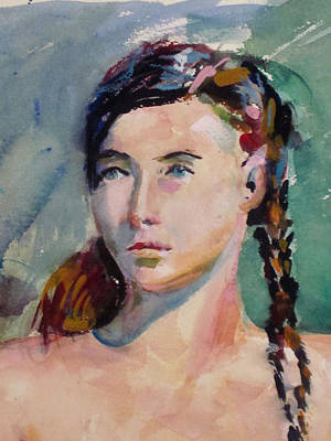 Painting - Blue Eyes And Braids by Mark Lunde
