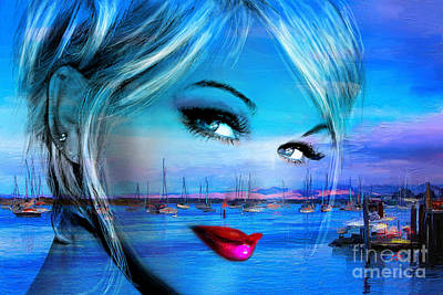Artdeco Painting - Blue Eyes Blue by Angie Braun