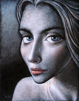 Classical Realism Painting - Blue Eyes by Ilir Pojani