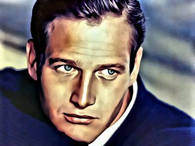 Painting - Blue Eyes Paul Newman by Florian Rodarte