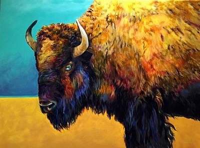 Buffalo Painting - The Gaze by Robert Pankey