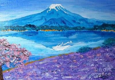 Sakura Painting - Blue Face Of Mt. Fuji by Eliza Donovan