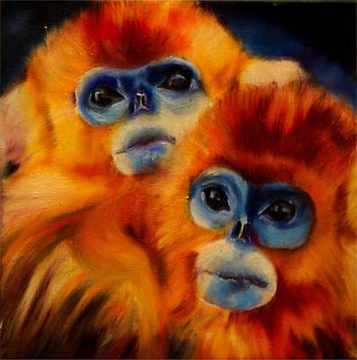 Painting - Blue Faced Monkey by Em Kotoul