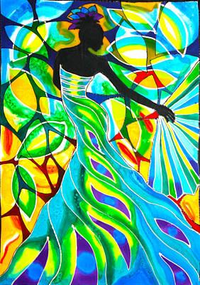Mayan Painting - Blue Fan Dancer by Lee Vanderwalker
