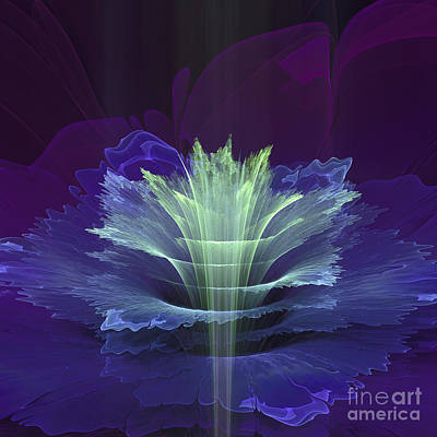 Digital Art - Blue Fantasy Flower by Martin Capek