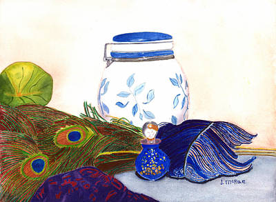 Painting - Blue Feathers by June McRae