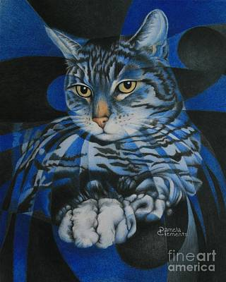 Blue Feline Geometry Art Print by Pamela Clements