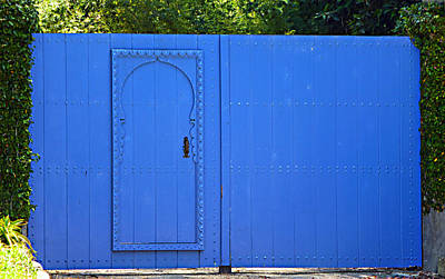Photograph - Blue Fence With Gate by Marie Morrisroe
