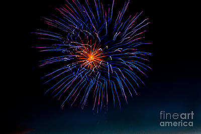 Blue Firework Flower Art Print by Robert Bales