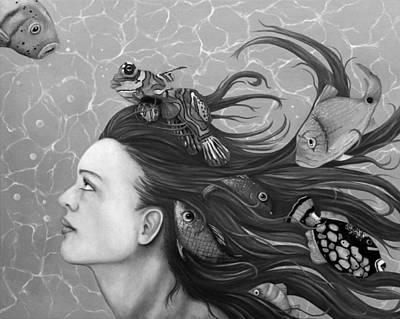 Mandarin Painting - Blue Fish Bw by Leah Saulnier The Painting Maniac