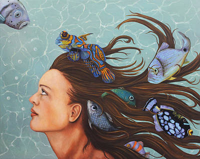 Mandarin Painting - Blue Fish Edit 2 by Leah Saulnier The Painting Maniac