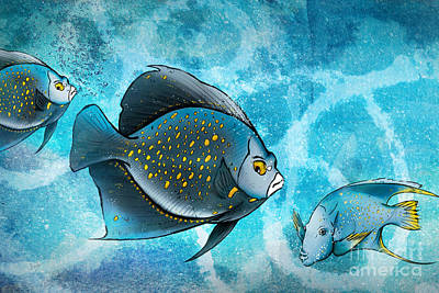 Playful Digital Art - Blue Fish Fantasy by Bedros Awak