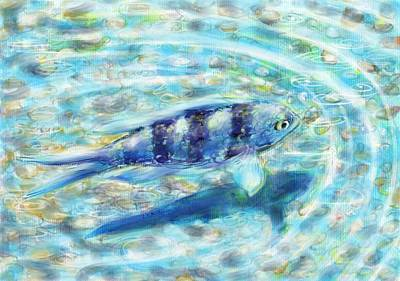 Painting - Blue Fish by Yumi Kudo