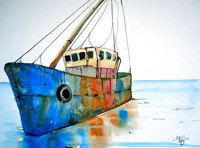 Blue Fishing Boat Art Print by Maya Simonson