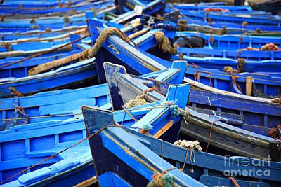 Agadir Photograph - Blue Fishing Boats by Deborah Benbrook