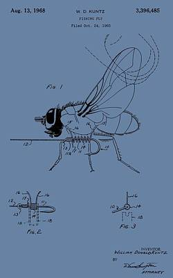 Trout Digital Art - Blue Fishing Fly Patent by Dan Sproul