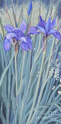Painting - Blue Flag Irises by Joan McGivney