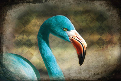 Blue Flamingo Art Print
