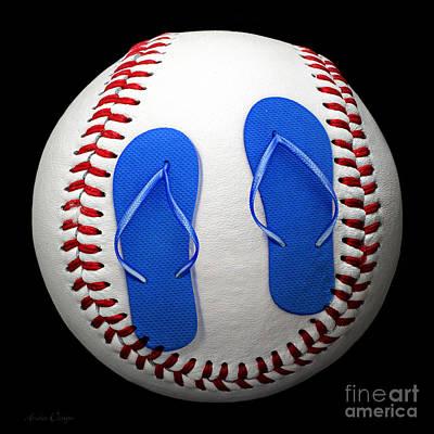 Baseball Photograph - Blue Flip Flops Baseball Square by Andee Design