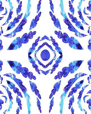 Painting - Blue Floral Pattern II by Irina Sztukowski