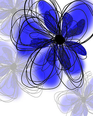 Nature Abstract Digital Art - Blue Flower Collage -abstract - Art by Ann Powell