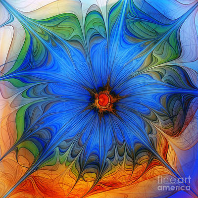 Mathematical Digital Art - Blue Flower Dressed For Summer by Karin Kuhlmann