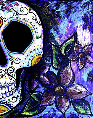 Blue Flower Skull Art Print by Lovejoy Creations