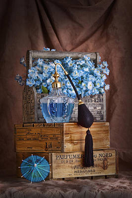 Wood Box Photograph - Blue Flower Still Life by Tom Mc Nemar