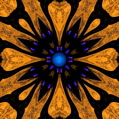 Digital Art - Blue Flower Symbol 1 by Marcela Bennett
