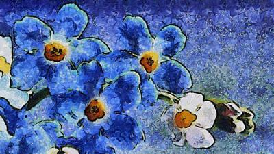 Blue Flowers - Van Gogh Style Art Print by Lilia D
