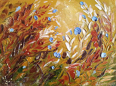 Blue Flowers Abstract Painting  Art Print