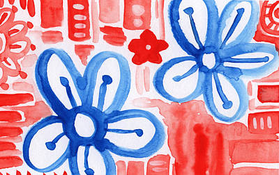 Red White And Blue Mixed Media - Blue Flowers- Floral Painting by Linda Woods
