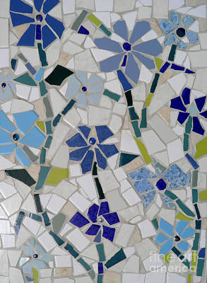 Photograph - Blue Flowers Mosaic 1 by Lou Ann Bagnall