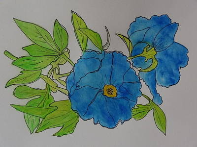 Painting - Blue Flowers by Nancy Fillip