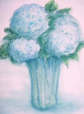 Pastel - Blue Flowers by Rae Chichilnitsky