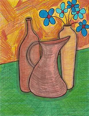 Pitcher Drawing - Blue Flowers by Ray Ratzlaff