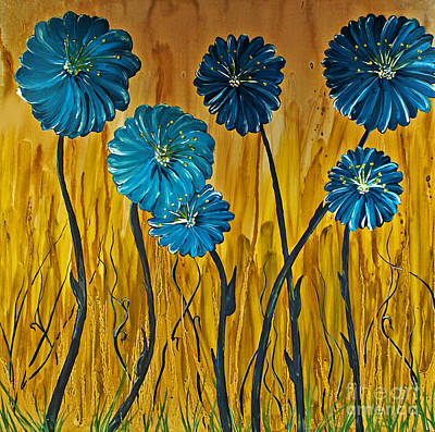 Blending Painting - Blue Flowers by Ryan Burton