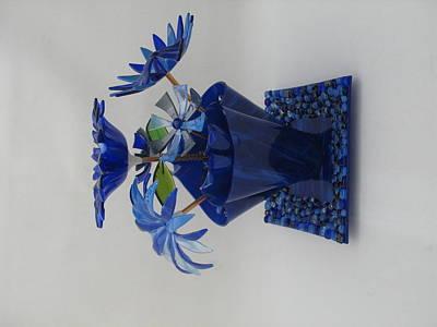 Blue Flowers Print by Steven Schramek