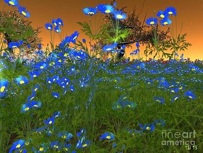 Art Print featuring the digital art Blue Flowers by Susanne Baumann