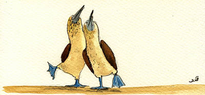 Bird Watercolor Painting - Blue Footed Boobies by Juan  Bosco