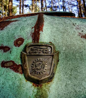 Photograph - Blue Ford Truck Hood by Greg Mimbs